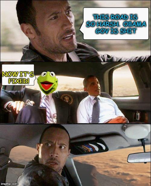 unu09 the rock driving kermit and barack obama meme generator imgflip,Obama Before And After Meme