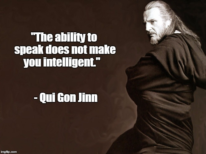 "Qui-Gon Jinn | ""The ability to speak does not make you intelligent."" - Qui Gon Jinn 