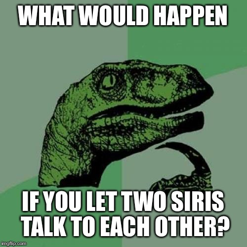 Philosoraptor Meme | WHAT WOULD HAPPEN IF YOU LET TWO SIRIS TALK TO EACH OTHER? | image tagged in memes,philosoraptor | made w/ Imgflip meme maker