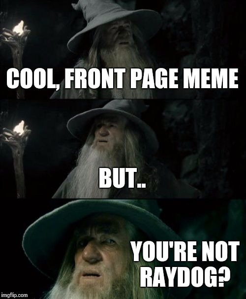 Confused Gandalf Meme | COOL, FRONT PAGE MEME BUT.. YOU'RE NOT RAYDOG? | image tagged in memes,confused gandalf | made w/ Imgflip meme maker