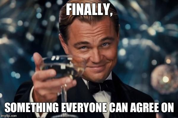 Leonardo Dicaprio Cheers Meme | FINALLY, SOMETHING EVERYONE CAN AGREE ON | image tagged in memes,leonardo dicaprio cheers | made w/ Imgflip meme maker