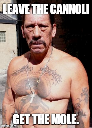 Get the mole | LEAVE THE CANNOLI GET THE MOLE. | image tagged in danny trejo,mexican,gangsta,cannoli | made w/ Imgflip meme maker