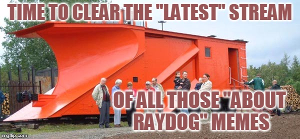 "TIME TO CLEAR THE ""LATEST"" STREAM OF ALL THOSE ""ABOUT RAYDOG"" MEMES 