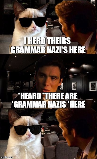Beware the Grammar Nazi's!  ;) | I HERD THEIRS GRAMMAR NAZI'S HERE *HEARD *THERE ARE *GRAMMAR NAZIS *HERE | image tagged in leonardo and grumpy cat,grumpy cat,grammar nazi,grumpy cat inception,clinkster custom template,memes | made w/ Imgflip meme maker