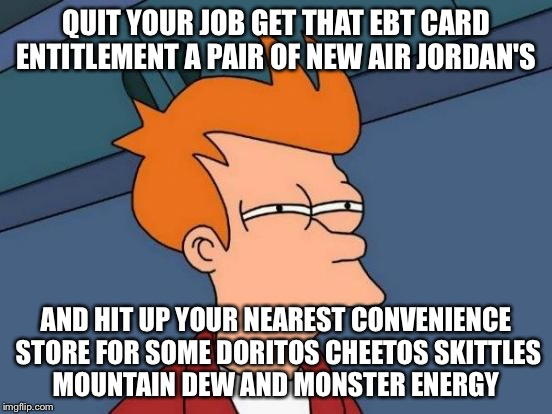 Futurama Fry Meme | QUIT YOUR JOB GET THAT EBT CARD ENTITLEMENT A PAIR OF NEW AIR JORDAN'S AND HIT UP YOUR NEAREST CONVENIENCE STORE FOR SOME DORITOS CHEETOS SK | image tagged in memes,futurama fry | made w/ Imgflip meme maker