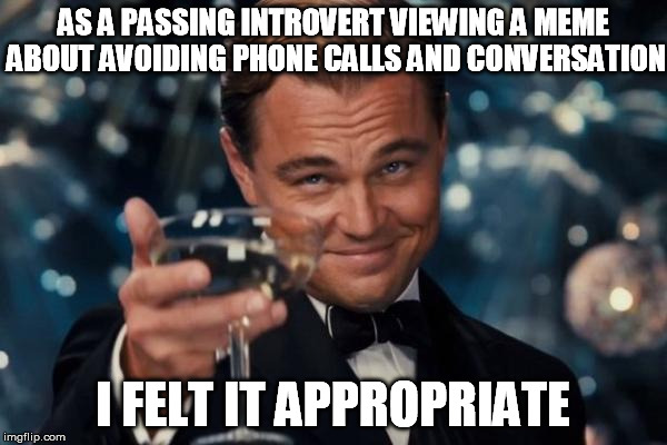 Leonardo Dicaprio Cheers Meme | AS A PASSING INTROVERT VIEWING A MEME ABOUT AVOIDING PHONE CALLS AND CONVERSATION I FELT IT APPROPRIATE | image tagged in memes,leonardo dicaprio cheers | made w/ Imgflip meme maker