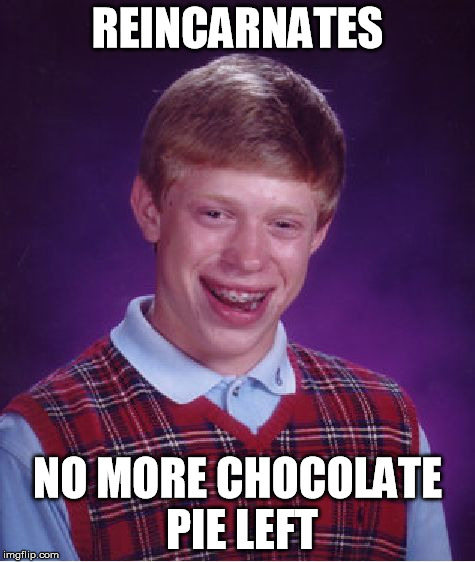 Bad Luck Brian Meme | REINCARNATES NO MORE CHOCOLATE PIE LEFT | image tagged in memes,bad luck brian | made w/ Imgflip meme maker