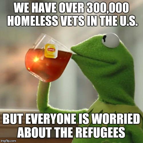 But Thats None Of My Business Meme | WE HAVE OVER 300,000 HOMELESS VETS IN THE U.S. BUT EVERYONE IS WORRIED ABOUT THE REFUGEES | image tagged in memes,but thats none of my business,kermit the frog | made w/ Imgflip meme maker