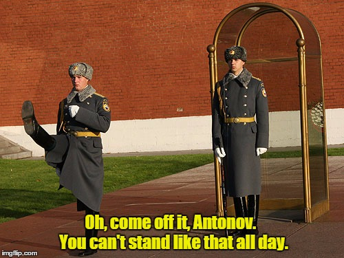 Tolstoy's complaint | Oh, come off it, Antonov.  You can't stand like that all day. | image tagged in russian,soldier,guard | made w/ Imgflip meme maker