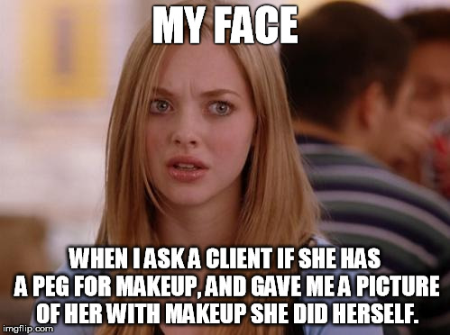 OMG Karen | MY FACE WHEN I ASK A CLIENT IF SHE HAS A PEG FOR MAKEUP, AND GAVE ME A PICTURE OF HER WITH MAKEUP SHE DID HERSELF. | image tagged in memes,omg karen | made w/ Imgflip meme maker