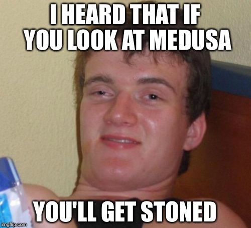 Stoner | I HEARD THAT IF YOU LOOK AT MEDUSA YOU'LL GET STONED | image tagged in memes,10 guy,puns,funny,medusa | made w/ Imgflip meme maker