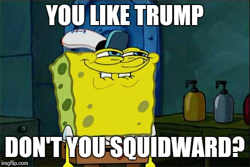 Dont You Squidward Meme | YOU LIKE TRUMP DON'T YOU SQUIDWARD? | image tagged in memes,dont you squidward | made w/ Imgflip meme maker