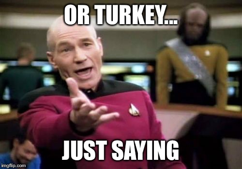 Picard Wtf Meme | OR TURKEY... JUST SAYING | image tagged in memes,picard wtf | made w/ Imgflip meme maker