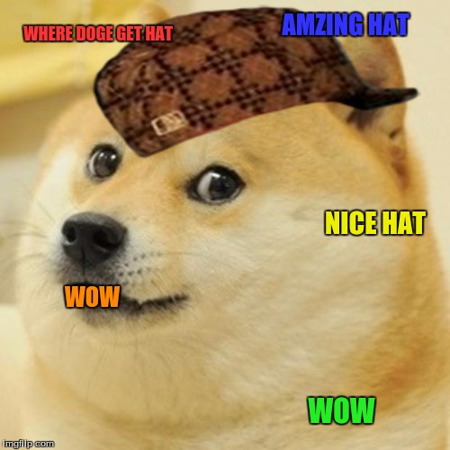 doge got a hat    | WHERE DOGE GET HAT WOW NICE HAT WOW AMZING HAT | image tagged in memes,doge,scumbag | made w/ Imgflip meme maker