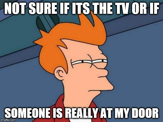 Futurama Fry Meme | NOT SURE IF ITS THE TV OR IF SOMEONE IS REALLY AT MY DOOR | image tagged in memes,futurama fry | made w/ Imgflip meme maker
