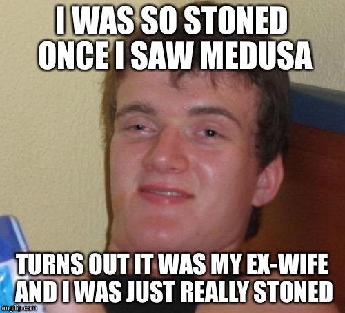 10 Guy Meme | I WAS SO STONED ONCE I SAW MEDUSA TURNS OUT IT WAS MY EX-WIFE AND I WAS JUST REALLY STONED | image tagged in memes,10 guy | made w/ Imgflip meme maker