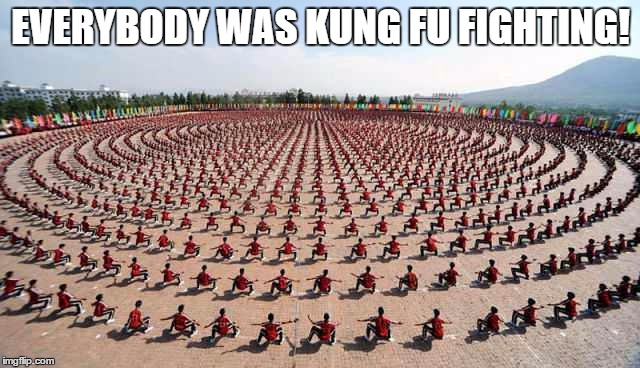 everybody was kung fu fighting | EVERYBODY WAS KUNG FU FIGHTING! | image tagged in everybody,kung fu,fighting | made w/ Imgflip meme maker