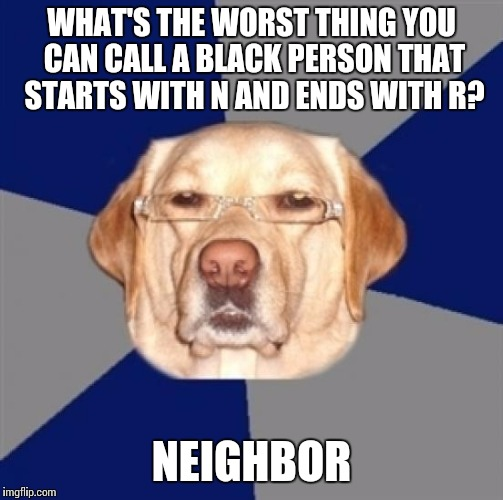 racist dog | WHAT'S THE WORST THING YOU CAN CALL A BLACK PERSON THAT STARTS WITH N AND ENDS WITH R? NEIGHBOR | image tagged in racist dog | made w/ Imgflip meme maker