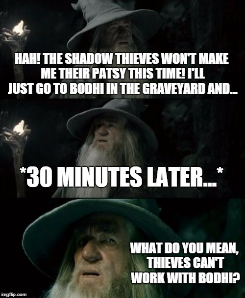 Baldur's Gate II railroaded me again! Gah! | HAH! THE SHADOW THIEVES WON'T MAKE ME THEIR PATSY THIS TIME! I'LL JUST GO TO BODHI IN THE GRAVEYARD AND... *30 MINUTES LATER...* WHAT DO YOU | image tagged in memes,confused gandalf | made w/ Imgflip meme maker