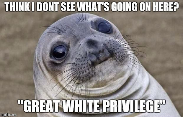 "Awkward Moment Sealion Meme | THINK I DONT SEE WHAT'S GOING ON HERE? ""GREAT WHITE PRIVILEGE"" 