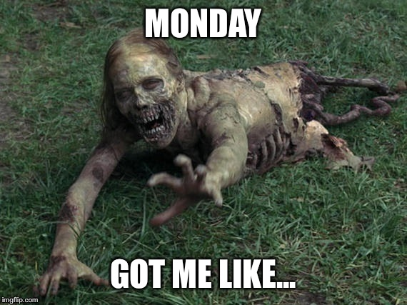 MONDAY GOT ME LIKE... | image tagged in zombies,zombie,monday,mondays,the walking dead | made w/ Imgflip meme maker