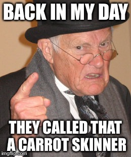 Back In My Day Meme | BACK IN MY DAY THEY CALLED THAT A CARROT SKINNER | image tagged in memes,back in my day | made w/ Imgflip meme maker