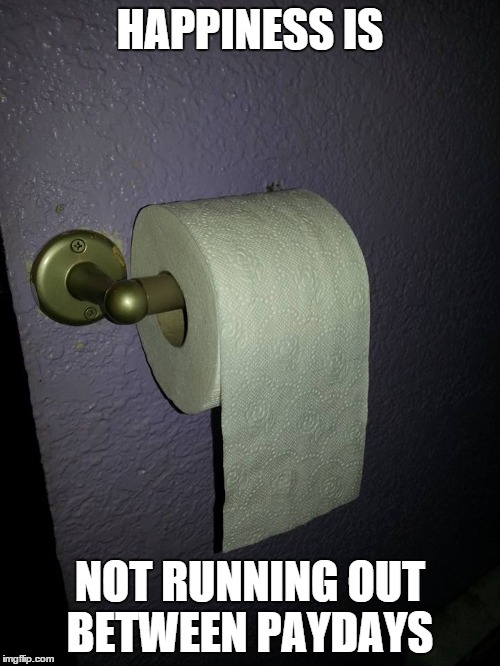 Made it! | HAPPINESS IS NOT RUNNING OUT BETWEEN PAYDAYS | image tagged in toilet paper,toilet,payday,happiness is,happiness | made w/ Imgflip meme maker