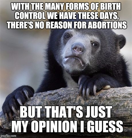 Confession Bear Meme | WITH THE MANY FORMS OF BIRTH CONTROL WE HAVE THESE DAYS, THERE'S NO REASON FOR ABORTIONS BUT THAT'S JUST MY OPINION I GUESS | image tagged in memes,confession bear | made w/ Imgflip meme maker