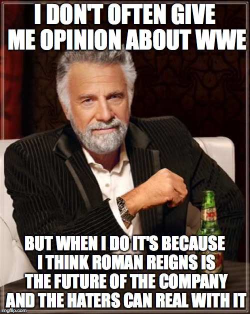 Roman Reigns  | I DON'T OFTEN GIVE ME OPINION ABOUT WWE BUT WHEN I DO IT'S BECAUSE I THINK ROMAN REIGNS IS THE FUTURE OF THE COMPANY AND THE HATERS CAN REAL | image tagged in memes,the most interesting man in the world,wwe | made w/ Imgflip meme maker