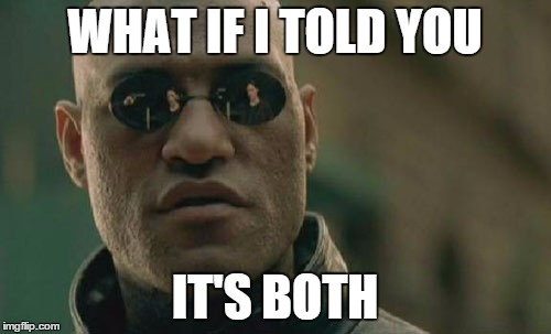 Matrix Morpheus Meme | WHAT IF I TOLD YOU IT'S BOTH | image tagged in memes,matrix morpheus | made w/ Imgflip meme maker