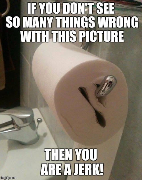 Who does this?! | IF YOU DON'T SEE SO MANY THINGS WRONG WITH THIS PICTURE THEN YOU ARE A JERK! | image tagged in toilet paper,memes,jerk | made w/ Imgflip meme maker