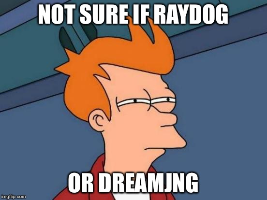 Futurama Fry Meme | NOT SURE IF RAYDOG OR DREAMJNG | image tagged in memes,futurama fry | made w/ Imgflip meme maker