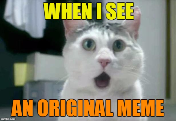 OMG Cat | WHEN I SEE AN ORIGINAL MEME | image tagged in memes,omg cat | made w/ Imgflip meme maker