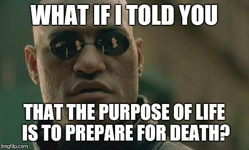 It's coming for us all. | WHAT IF I TOLD YOU THAT THE PURPOSE OF LIFE IS TO PREPARE FOR DEATH? | image tagged in memes,matrix morpheus | made w/ Imgflip meme maker
