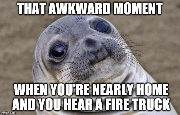 It's even worse if you smell burning... | THAT AWKWARD MOMENT WHEN YOU'RE NEARLY HOME AND YOU HEAR A FIRE TRUCK | image tagged in memes,awkward moment sealion,fire,fire truck | made w/ Imgflip meme maker
