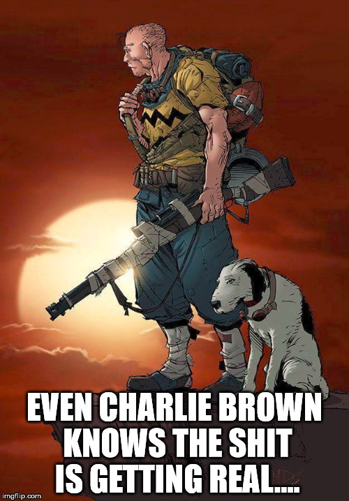 EVEN CHARLIE BROWN KNOWS THE SHIT IS GETTING REAL.... | image tagged in terrorism | made w/ Imgflip meme maker