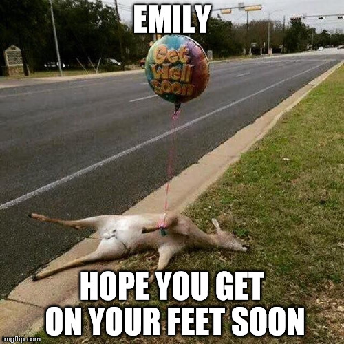 Get Well Soon | EMILY HOPE YOU GET ON YOUR FEET SOON | image tagged in get well soon | made w/ Imgflip meme maker