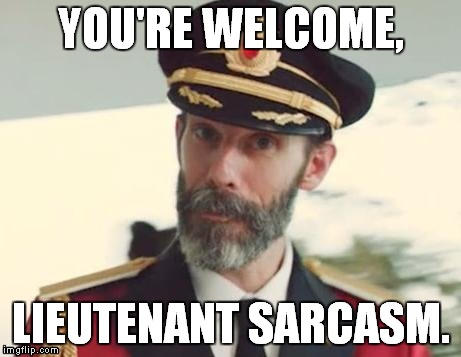 "When someone says ""Thank you, Captain Obvious."" 