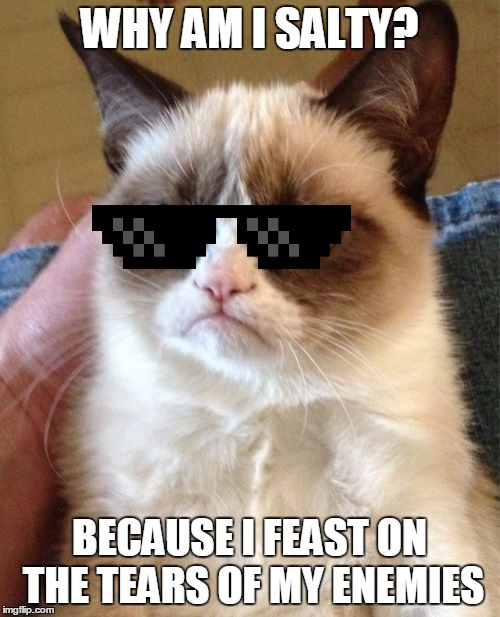 Grumpy Cat Meme | WHY AM I SALTY? BECAUSE I FEAST ON THE TEARS OF MY ENEMIES | image tagged in memes,grumpy cat | made w/ Imgflip meme maker
