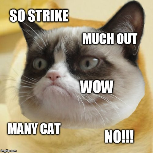 SO STRIKE MUCH OUT WOW MANY CAT NO!!! | made w/ Imgflip meme maker
