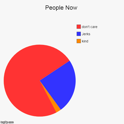 People Now | kind, Jerks, don't care | image tagged in funny,pie charts | made w/ Imgflip chart maker