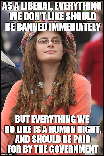 College Liberal Meme | AS A LIBERAL, EVERYTHING WE DON'T LIKE SHOULD BE BANNED IMMEDIATELY BUT EVERYTHING WE DO LIKE IS A HUMAN RIGHT, AND SHOULD BE PAID FOR BY TH | image tagged in memes,college liberal,hunter avallone,political,they're so darn stupid | made w/ Imgflip meme maker