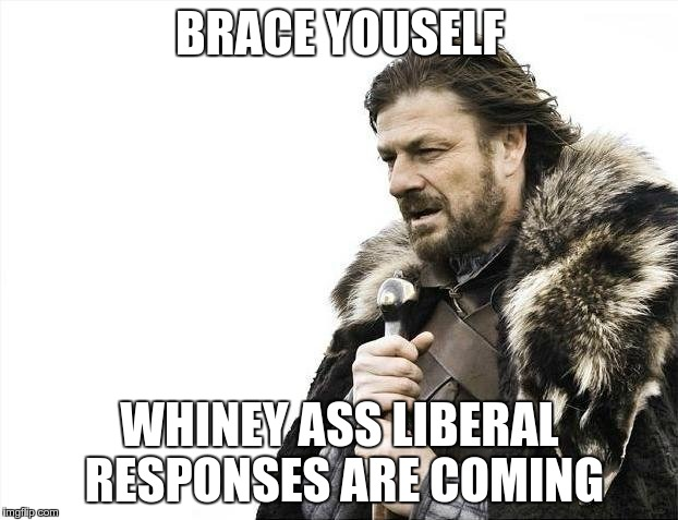 Brace Yourselves X is Coming Meme | BRACE YOUSELF WHINEY ASS LIBERAL RESPONSES ARE COMING | image tagged in memes,brace yourselves x is coming | made w/ Imgflip meme maker