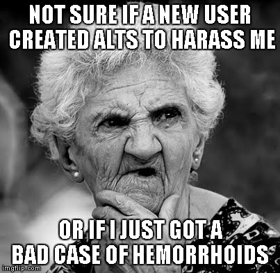 They did prove to me that the downvote button still works tho'. | NOT SURE IF A NEW USER CREATED ALTS TO HARASS ME OR IF I JUST GOT A BAD CASE OF HEMORRHOIDS | image tagged in skeptical old lady,funny,harassment,old lady | made w/ Imgflip meme maker