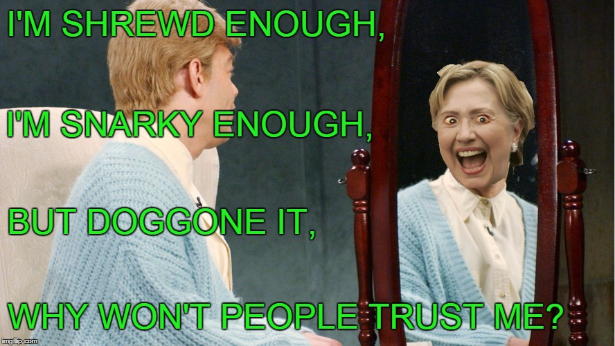 I'M SHREWD ENOUGH, WHY WON'T PEOPLE TRUST ME? I'M SNARKY ENOUGH, BUT DOGGONE IT, | made w/ Imgflip meme maker
