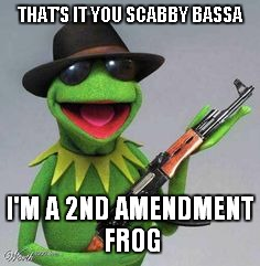 THAT'S IT YOU SCABBY BASSA I'M A 2ND AMENDMENT FROG | made w/ Imgflip meme maker