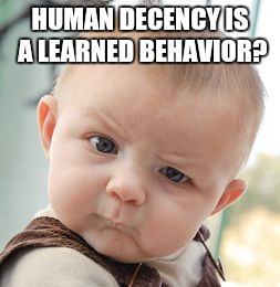 Skeptical Baby Meme | HUMAN DECENCY IS A LEARNED BEHAVIOR? | image tagged in memes,skeptical baby | made w/ Imgflip meme maker