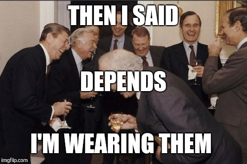 vac1d laughing men in suits meme imgflip,Depends Meme