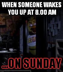 Chica Looking In Window FNAF | WHEN SOMEONE WAKES YOU UP AT 8.00 AM ...ON SUNDAY | image tagged in chica looking in window fnaf,chica,shocked,too early,funny,memes | made w/ Imgflip meme maker