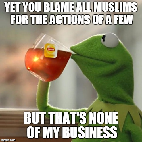 But Thats None Of My Business Meme | YET YOU BLAME ALL MUSLIMS FOR THE ACTIONS OF A FEW BUT THAT'S NONE OF MY BUSINESS | image tagged in memes,but thats none of my business,kermit the frog | made w/ Imgflip meme maker